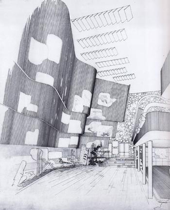 0. alvar aalto pabellon de finlandia new york - dibujo interior 350