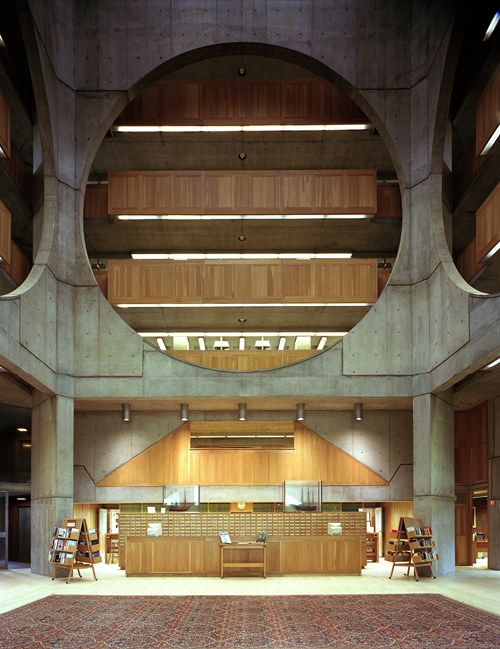 Lobby area at the Johnson Wax Building, headquarters of the S.C. Johnson and Son Co.  The building and its furnishings were designed by Frank Lloyd Wright. YOU DID NOT ID, BUT I ASSUMED WAS MORE JOHNSON WAX